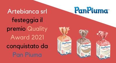 Artebianca festeggia il premio Quality Award 2021 conquistato da Pan Piuma